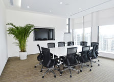 Meeting room. Small meeting room with big windows and plants Stock Photography
