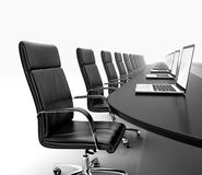 Meeting room. 3D render of conference room with black table black leather chairs and laptops Royalty Free Stock Photography