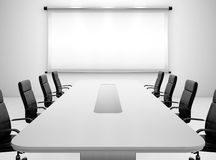 Meeting room. 3D render of meeting room with projection screen and conference table Stock Images