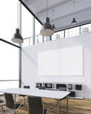 Meeting room with blank poster. Meeting room for six, blank poster on wall, lamps above. Panoramic window. Loft, natural light. Concept of meeting. 3D rendering Royalty Free Stock Photos