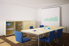 Meeting room with blue chairs Royalty Free Stock Photography