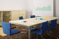 Meeting room with blue chairs Stock Photos