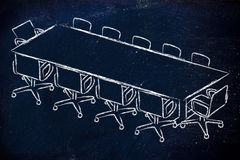 Meeting room or board room design. Illustration of table and chairs from an office meeting room (or board room Stock Photography