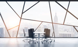 A meeting room in a bright contemporary panoramic office space with New York city view. The concept of highly professional financi. Al or legal services. 3D Royalty Free Stock Photos