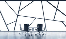 A meeting room in a bright contemporary panoramic office space with white copy space in the windows. The concept of highly profess Royalty Free Stock Images