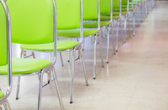 Meeting room chair lined up Stock Photo