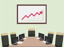 Meeting room with computer ,paper ,chair and static graph board. Vector illustration.Business room for meeting Royalty Free Stock Photography