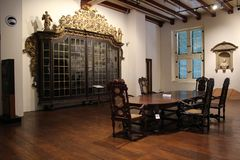 Meeting room in early 1900. History, museum stock image