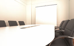 Meeting room with empty projector screen Royalty Free Stock Photos