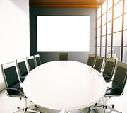 Meeting room with empty whiteboard Stock Images