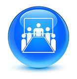 Meeting room icon glassy cyan blue round button Stock Image