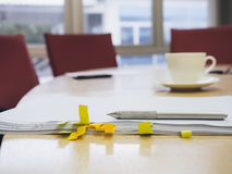 Meeting room interior with document and coffee Business concept Royalty Free Stock Images
