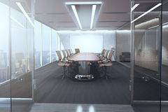 Meeting room interior. Open glass door revealing modern meeting room interior with ceiling lamps, blank whiteboard on brick wall, wooden floor and panoramic Royalty Free Stock Image