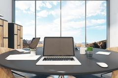 Meeting room with laptop royalty free illustration