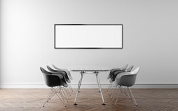 Meeting room with a large white wall in the background. 3D illus Royalty Free Stock Photography