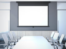 Meeting room with long table. 3d rendering Royalty Free Stock Image