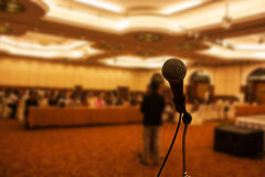 Meeting room and microphone Royalty Free Stock Images