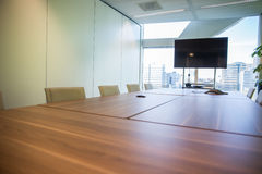 Meeting room. Modern meeting room with equipment for teleconference Royalty Free Stock Images