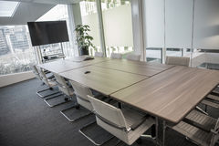 Meeting room. Modern meeting room with equipment for teleconference Royalty Free Stock Image
