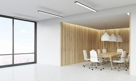 Meeting room and panoramic window Royalty Free Stock Photography