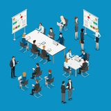 Meeting room presentation work flat  isometr. Meeting room presentation team work process flat 3d isometry isometric concept web infographics  illustration Stock Images