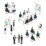 Meeting room presentation work flat  isometr. Meeting room presentation team work process flat 3d isometry isometric concept web infographics  illustration Royalty Free Stock Photography