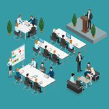 Meeting room presentation work flat  isometr. Meeting room presentation team work process flat 3d isometry isometric concept web infographics  illustration Stock Photos
