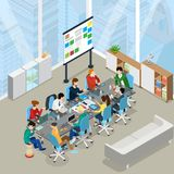 Meeting room presentation work flat  isometr. Meeting room presentation team work process flat 3d isometry isometric concept web infographics  illustration Royalty Free Stock Images