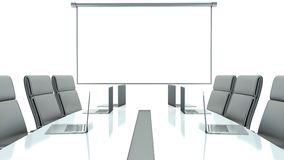 Meeting room with projection screen and conference table.  Stock Photos