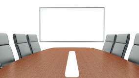 Meeting room with projection screen and conference table Royalty Free Stock Images