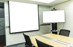 Meeting room with projector and video conference on white projector royalty free stock photography