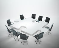 Meeting room with a puzzle shaped table. Teamwork and cooperation concept