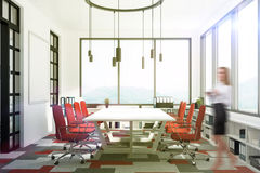 Meeting room with red chairs, toned Royalty Free Stock Photo