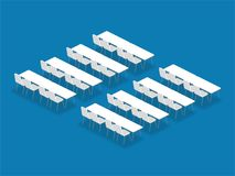 Meeting room setup layout configuration Classroom isometric style. Illustration, perspective 3d with shadow on blue color background stock illustration