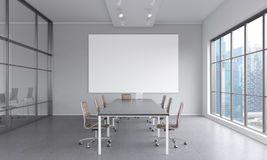 Meeting room for seven people Stock Photos