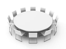 Meeting room table with chairs around. 3d render illustration Royalty Free Stock Photography