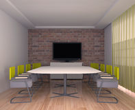 Meeting room with TV in the interior of the office Royalty Free Stock Photo