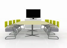Meeting room with TV on a white backgroun Stock Photos