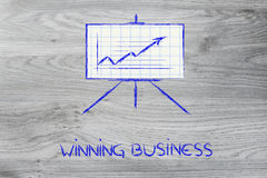 Meeting room whiteboard stand with positive stats graph Stock Image