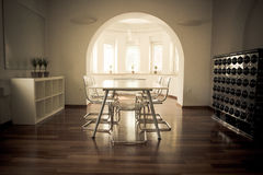 Meeting room with wooden floor Royalty Free Stock Photo