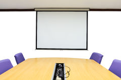 Meeting room with wooden table Stock Image