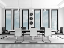 Meeting roon. Black and white contemporary meeting room - rendering Stock Images