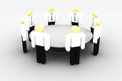 Meeting at the round table. Group of iconographic business persons in talk around a table Royalty Free Stock Photo
