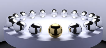 Negotiations. Round table meeting abstract with metal spheres representing people Stock Photography