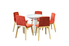 Meeting round table and red office chairs for conference, isolat Royalty Free Stock Image