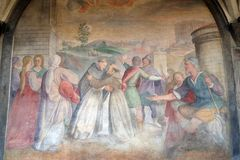 Meeting between Saint Dominic and Saint Francis, Santa Maria Novella church in Florence. Meeting between Saint Dominic and Saint Francis, fresco by Santi di Tito stock images