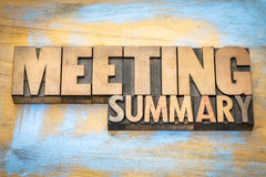 Meeting summary banner in wood type Royalty Free Stock Photos