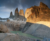 Meeting sunrise at the towers of Torres. Royalty Free Stock Images