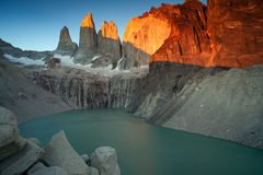 Meeting sunrise at the towers of Torres. Royalty Free Stock Photography