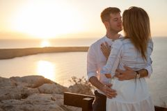 Meeting sunrise with your half with the romantic view royalty free stock photo
